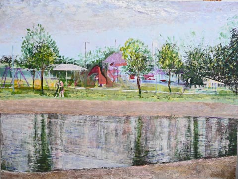 Surprise Lake, acrylic painting of lake and park in Surprise, AZ