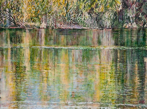 Agua Caliente Autumn, acrylic painting on panel of water reflection