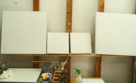 Four orphans, four empty panels, waiting for painting to start