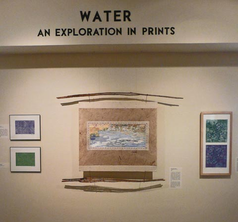 Agua Caliente water reflection woodcut at Tohono Chul Part Gallery