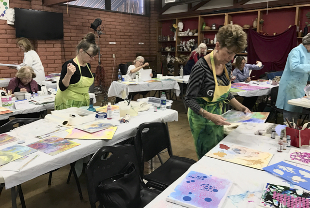 A class at The Drawing Studio in Tucson, deep into painting.